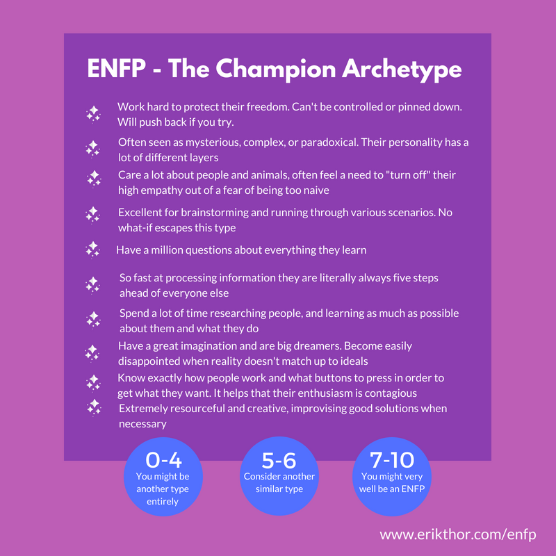 ENFP Personality Type, The Champion Archetype,
