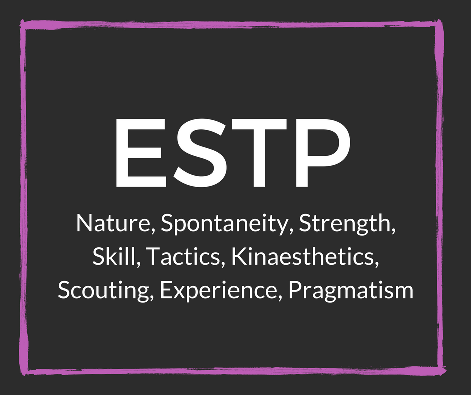 estp personality type Estp is one of the 16 personality types identified by the myers-briggs type indicator (mbti) people with this personality type are frequently described as outgoing, action-oriented and dramatic.