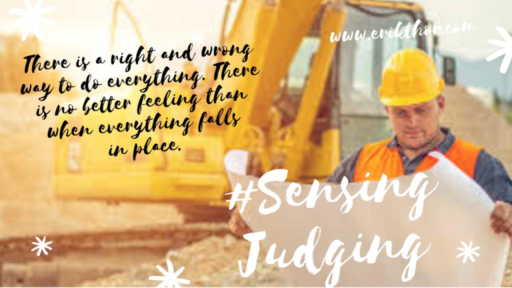 Sensing Judging, Sensing cognitive function, Organisation skills