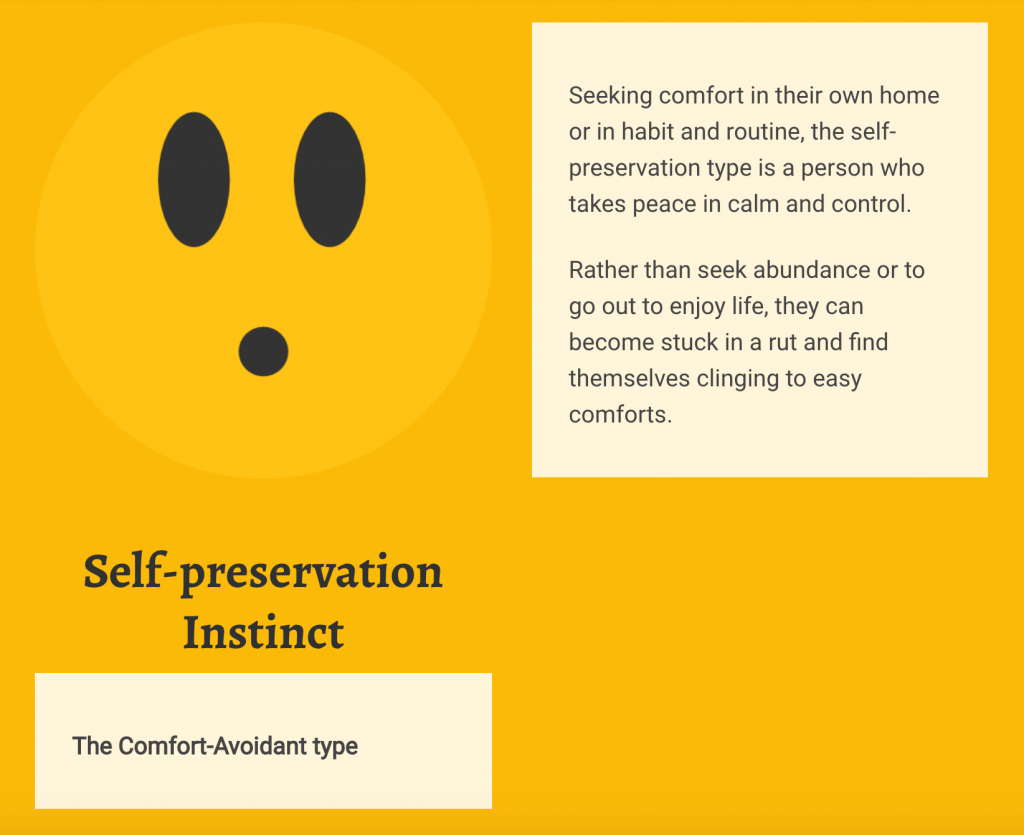 self preservation personality type