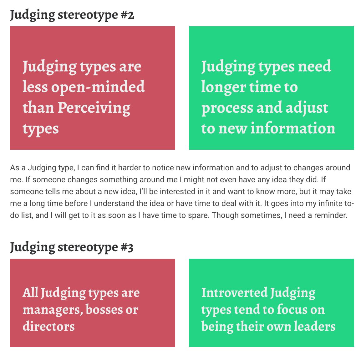16 personalities judging stereotypes