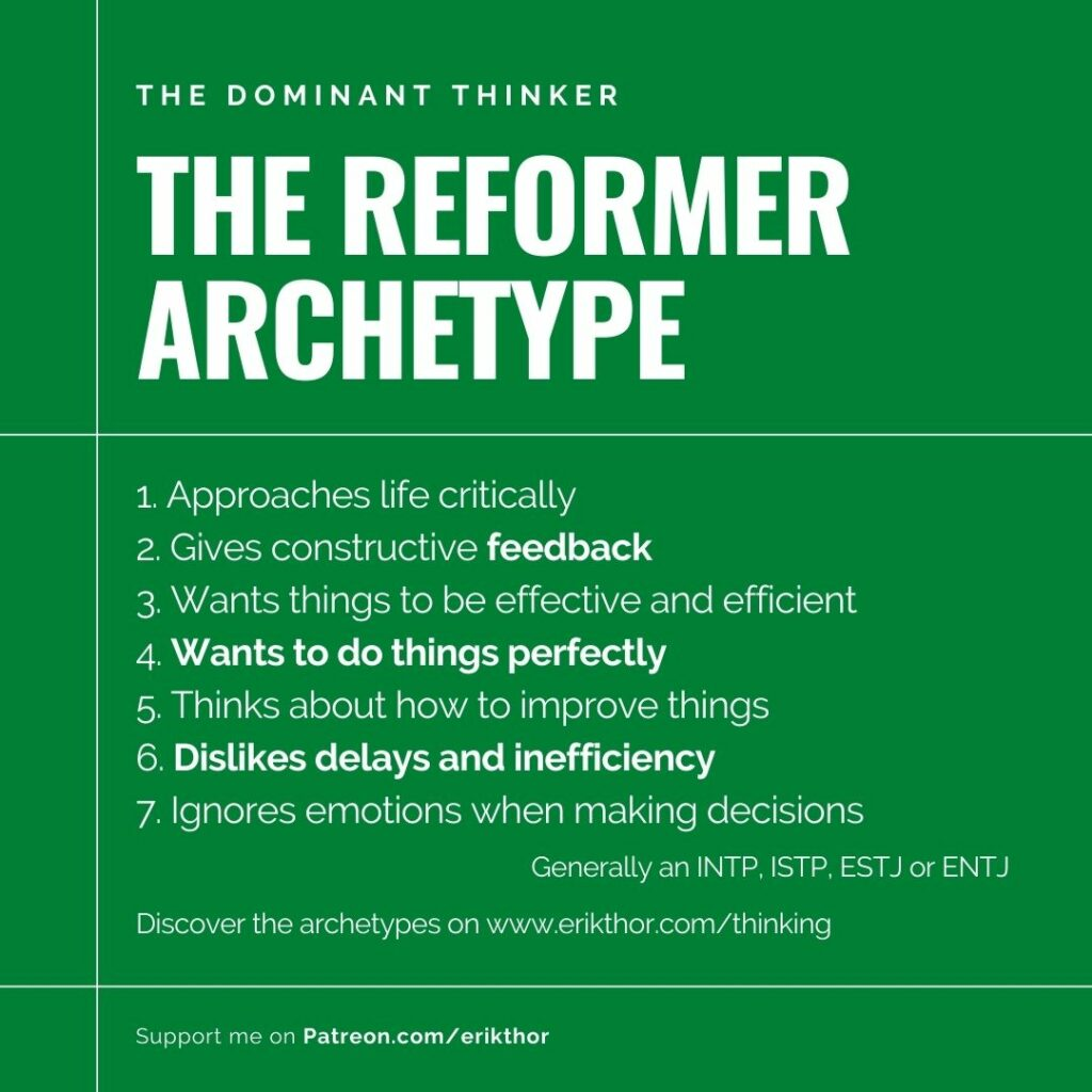 The Reformer Archetype, The Thinking Type, Thinking MBTI, MBTI Thinking