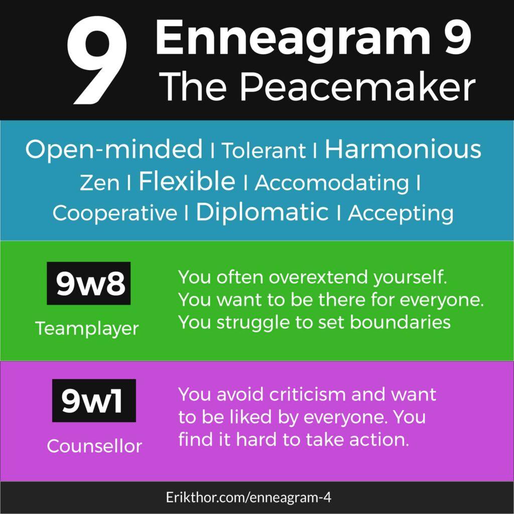 Enneagram 9, Enneagram 9 wing 8, Enneagram 9 wing 1, Enneagram 9 in love, Enneagram 9 under stress, Best jobs for enneagram 9
